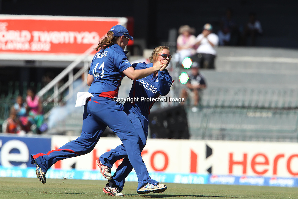 Danielle Wyatt celebrates the wicket of Sophie Devine during the ICC Women's World Twenty20 Semi final match between England and New Zealand held at the Premadasa Stadium in Colombo, Sri Lanka on the 4th October  2012<br /> <br /> Photo by Ron Gaunt/SPORTZPICS/PHOTOSPORT