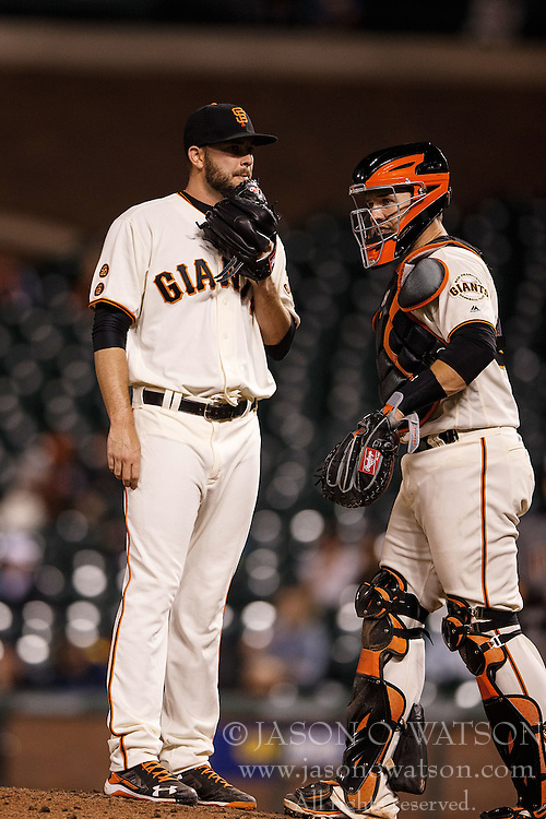 SAN FRANCISCO, CA - APRIL 18: Buster Posey #28 of the San Francisco Giants talks to Chris Heston #53 during the eleventh inning against the Arizona Diamondbacks at AT&T Park on April 18, 2016 in San Francisco, California. The Arizona Diamondbacks defeated the San Francisco Giants 9-7 in 11 innings.  (Photo by Jason O. Watson/Getty Images) *** Local Caption *** Buster Posey; Chris Heston