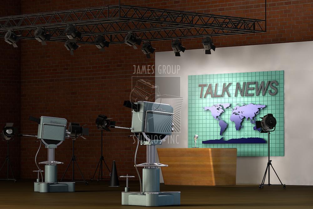 Retro TV studio set for a news broadcast