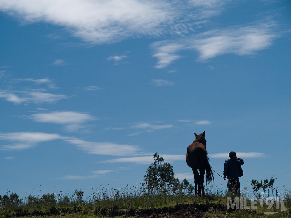 A boy and his horse, silhouette against the sky, look out over the communial pastures in Kotoba, Ethiopia.