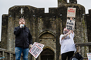 Talks begin outside Caerphilly Castle addressing the 100s of peaceful protesters during the Black Lives Matter protest in Caerphilly, Wales on 6 June 2020.