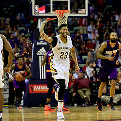 Nov 4, 2016; New Orleans, LA, USA; New Orleans Pelicans forward Anthony Davis (23) reacts after guard Langston Galloway (10) scores during the second half of a game against the Phoenix Suns at the Smoothie King Center. The Suns defeated the Pelicans 112-111 in overtime. Mandatory Credit: Derick E. Hingle-USA TODAY Sports