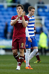 Derby Forward Chris Martin (ENG) and Reading Defender Chris Gunter (WAL) look frustrated after the dame ends 0-0 - Photo mandatory by-line: Rogan Thompson/JMP - 07966 386802 - 15/09/2014 - SPORT - FOOTBALL - Madejski Stadium - Reading - Reading v Derby County - Sky Bet Football League Championship.