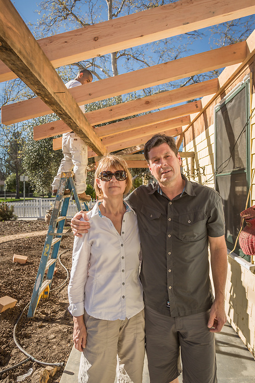 """""""We bought this house in January and plan to live here half time, spliting our time in Humbolt County.  Eventually, we will live here full time.  It's only 600 squre feet but we will make it work.  We are having the porch replaced...it was toast.""""  -Dee and Mike Atkins at their new home in Calistoga"""