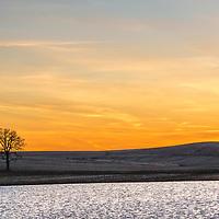 Minimalist landscape at sundown