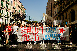 October 13, 2017 - Naples, Campania, Italy - Thousands of students held a demonstration, as part of a nationwide mobilization, to protest against the so-called 'La Buona Scuola' (Good School) reform, the school-work alternation and in defence of public education in Naples. (Credit Image: © Paolo Manzo/NurPhoto via ZUMA Press)