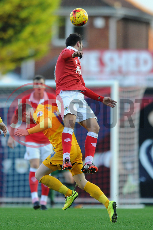 Bristol City's Marlon Pack challenges for the ball with Preston North End's Joe Garner - Photo mandatory by-line: Dougie Allward/JMP - Mobile: 07966 386802 - 22/11/2014 - Sport - Football - Bristol - Ashton Gate - Bristol City v Preston North End - Sky Bet League One