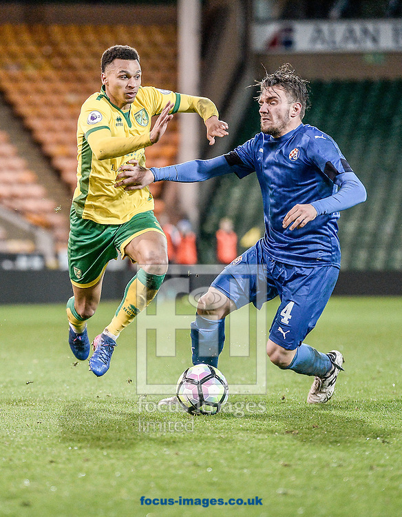 Joshua Murphy of Norwich City U23 versus Dinamo Zagreb U23 during the Premier League International Cup Quarter-Final match at Carrow Road, Norwich<br /> Picture by Matthew Usher/Focus Images Ltd +44 7902 242054<br /> 27/02/2017