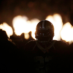 Jan 7, 2018; New Orleans, LA, USA; A New Orleans Saints player is silhouetted as he runs on to the field before the NFC Wild Card playoff football game against the Carolina Panthersat Mercedes-Benz Superdome. Mandatory Credit: Derick E. Hingle-USA TODAY Sports