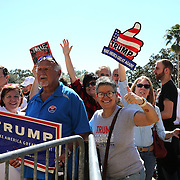 Supporters line up hours ahead of Donald Trump's scheduled speech prior to a rally for the US presidential campaign in Tampa, Florida, America - 12  Feb 2016