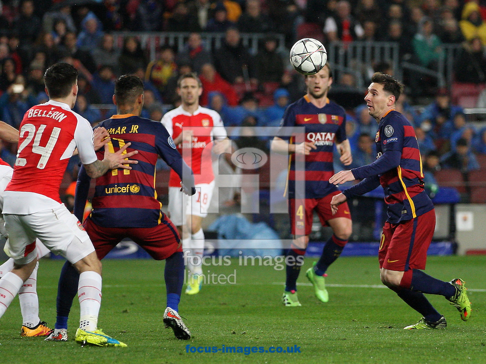 Lionel Messi of FC Barcelona heads the ball during the UEFA Champions League match at Camp Nou, Barcelona<br /> Picture by Yannis Halas/Focus Images Ltd +353 (87) 258201<br /> 16/03/2016