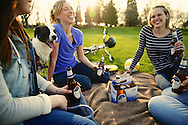 Ultra beer in Portland,Oregon  Park with good friends enjoying each other at sunset. National Ad.