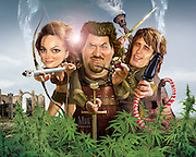 Gone Medieval . . .  Caricature: Danny McBride, Natalie Portman, James Franco in a cannabis caper. 3D modeling and Photoshop. Originally created for Penthouse Full Frontal Entertainment Review.