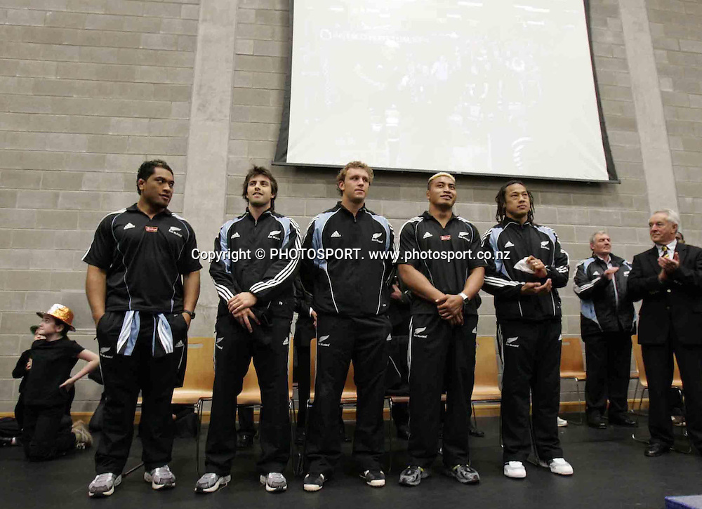 All Blacks Neemia Tialata, Conrad Smith, Angus McDonald Jerry Collins and Tana Umaga at a presentation, Donegal, Ireland, on Wednesday 10 November, 2005. Photo: Inpho/PHOTOSPORT<br />