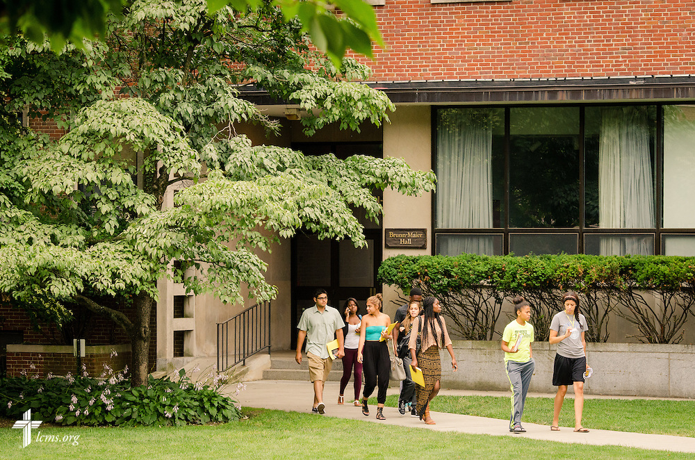 Students walk to The Commons for lunch at Concordia College New York on Saturday, July 19, 2014, in Bronxville, NY. LCMS Communications/Erik M. Lunsford