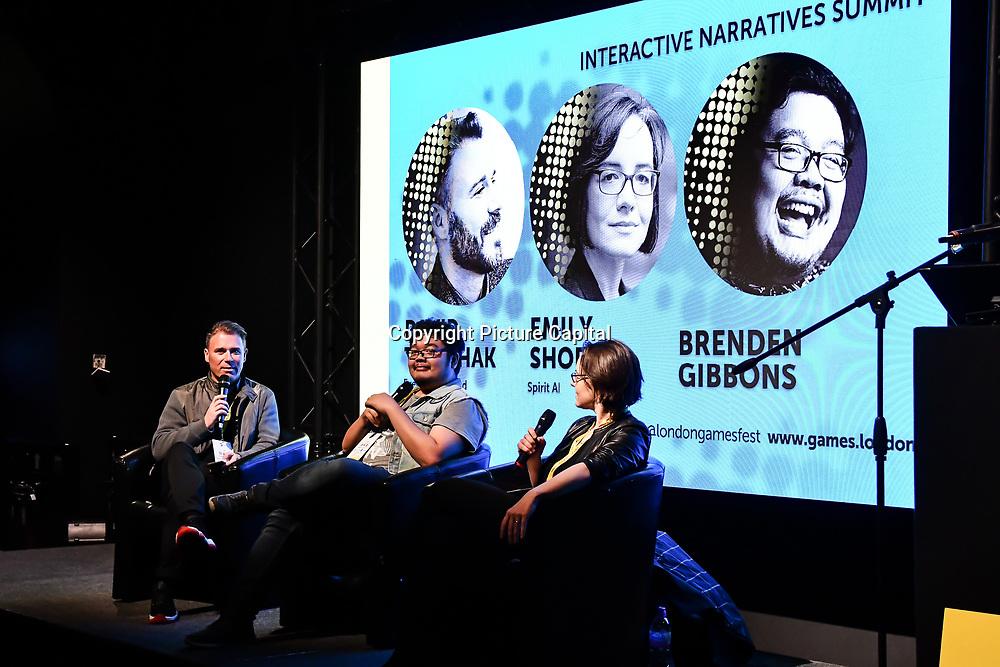 Speaker David Tomchak, Emily Short and Brenden Gibbons at London Games Festival 2019: HUB at Somerset House at Strand, London, UK. on 2nd April 2019.