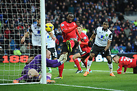 Football - 2013 / 2014 Premier League - Cardiff City vs. Norwich City<br /> Kenwyne Jones of Cardiff City scores their second goal to take the score to 2-1 at the Cardiff City Stadium