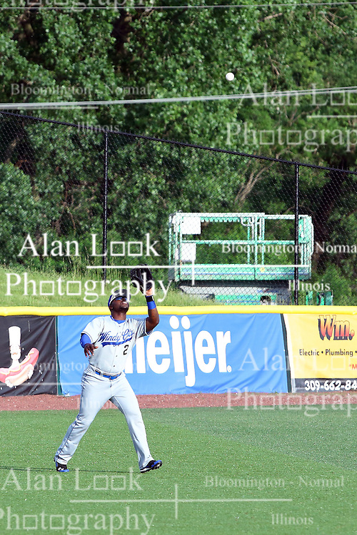 03 June 2016:  Coco Johnson lines up to catch a towering fly ball during a Frontier League Baseball game between the Windy City Thunderbolts and the Normal CornBelters at Corn Crib Stadium on the campus of Heartland Community College in Normal Illinois