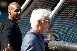 SAN FRANCISCO, CA - JULY 10:  Former Major League Baseball player Barry Bonds talks to broadcaster Mike Krukow during batting practice before the game between the San Francisco Giants and the Philadelphia Phillies at AT&T Park on July 10, 2015 in San Francisco, California.  The San Francisco Giants defeated the Philadelphia Phillies 15-2. (Photo by Jason O. Watson/Getty Images) *** Local Caption *** Barry Bonds; Mike Krukow