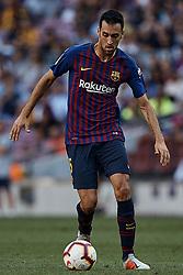 September 29, 2018 - Barcelona, Barcelona, Spain - Sergio Busquets of FC Barcelona in action during the La Liga match between FC Barcelona and Athletic Club de Bilbao at Camp Nou on September 29, 2018 in Barcelona, Spain  (Credit Image: © David Aliaga/NurPhoto/ZUMA Press)