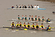 Chiswick, LONDON, ENGLAND, 25.03.2006, Novice crews fight it out by Chiswich Pier top University of Essex, overtake, Globe, during the 2006 Head of the River Race. Mortlake to Putney. © Peter Spurrier/Intersport-images.com. 2006 Men's Head of the River Race, Rowing Course: River Thames, Championship course, Putney to Mortlake 4.25 Miles 2006 Men's Head of the River Race, Rowing Course: River Thames, Championship course, Putney to Mortlake 4.25 Miles