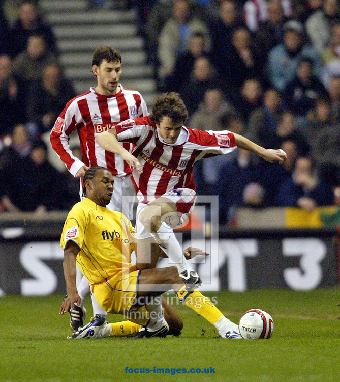 Stoke - Tuesday February 12th, 2008: Danny Pugh of Stoke and Jhon Viefara of Southampton during the Coca Cola Championship match at Britannia stadium, Ipswich. (Pic by Paul Hollands/Focus Images)..