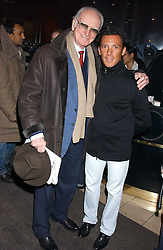 Left to right, SIR PETER O'SULLEVAN and FRANKIE DETTORI at a party to celebrate the opening of the new Piccadilly Circus Frankie's Bar & Grill at The Criterion, Piccadilly Circus, London on 25th January 2006.<br />