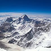 A panoramic view from the summit of Mount Everest taken on May 30, 2003. The view east shows the Himalayan giants of Lhotse, Makalu, Chomolhunzo, and distant Kanchenjunga, the world's third highest summit.