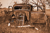 Abandoned car sits in a farm field near Indian Head Saskatchewan