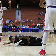 Sindarius Thornwell, South Carolina, slips during the St. John's vs South Carolina Men's College Basketball game in the Hall of Fame Shootout Tournament at Mohegan Sun Arena, Uncasville, Connecticut, USA. 22nd December 2015. Photo Tim Clayton