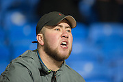 Upset Charlton fan after his side is relegated after the Sky Bet Championship 0-0 draw between Bolton Wanderers and Charlton Athletic at the Macron Stadium, Bolton, England on 19 April 2016. Photo by John Marfleet.