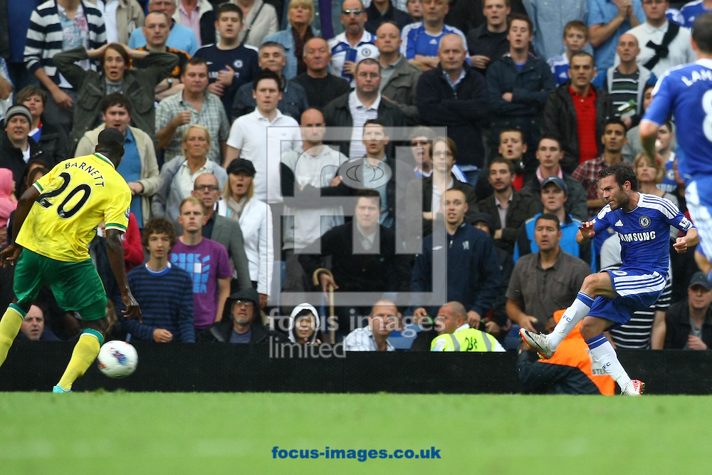 Juan Mata scores his sides 3rd goal and celebrates during the Barclays Premier League match at Stamford Bridge stadium, London...Picture by Paul Chesterton/Focus Images Ltd.  07904 640267.27/8/11