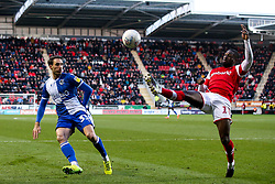 Hakeeb Adelakun of Rotherham United clears the ball from Alex Rodman of Bristol Rovers - Mandatory by-line: Robbie Stephenson/JMP - 18/01/2020 - FOOTBALL - Aesseal New York Stadium - Rotherham, England - Rotherham United v Bristol Rovers - Sky Bet League One