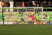 Braintree Town's Michael Cheek shoots at goal scores a goal 0-1 during the Vanarama National League match between Forest Green Rovers and Braintree Town at the New Lawn, Forest Green, United Kingdom on 21 January 2017. Photo by Shane Healey.