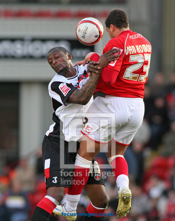 Barnsley - Saturday 21st February 2009 : Marciano van Homoet of Barnsley & Trésor Kandol of Charlton Athletic in action during the Coca Cola Championship match at Oakwell, Barnsley. (Pic by Steven Price/Focus Images)
