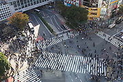 Elevated view of a crowed of pedestrians crossing a four way zebra crossing at Shibuya crossing in central Tokyo, Japan