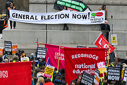 © Licensed to London News Pictures. 12/01/2019. London, UK. John McDonnell MP, Shadow Chancellor of the Exchequer addresses at the rally. Thousands of people many in yellow vest take part in a demonstration organised by People's Assembly Against Austerity by marching in London and rallying in Trafalgar Square calling for a General Election. Photo credit: Dinendra Haria/LNP