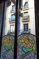 Stained glass windows of the Liceu Opera House in Barcelona, Spain