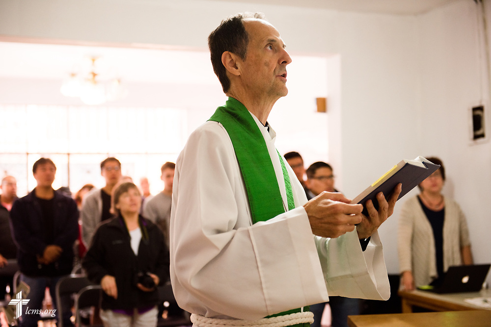 The Rev. Cullen Duke, LCMS career missionary to Peru, leads worship at La Mision Luterana Del Peru at Los Olivos on Sunday, Nov. 5, 2017, in the Los Olivos area of Lima, Peru.  LCMS Communications/Erik M. Lunsford