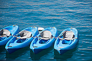 Photo blue canoes wall art. Avalon Bay, Catalina Island, pacific ocean, water, waves, sea craft. Matted print, limited edition. Los Angeles, Westside, Southern California modern photography.  Fine art photography print.Four blue canoes floating in Avalon bay. Catalina Island, CA 9.20.14