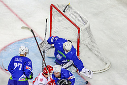 Gasper Kroselj of Slovenia during Ice Hockey match between National Teams of Slovenia and Poland in Round #2 of 2018 IIHF Ice Hockey World Championship Division I Group A, on April 23, 2018 in Budapest, Hungary. Photo by David Balogh / Sportida