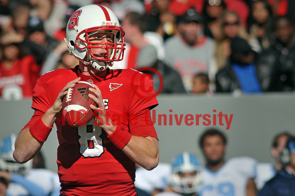 Wolfpack quarterback Mike Glennon looks to make a pass against Carolina.