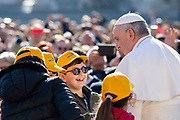 Vatican City - MARCH 06, 2019: Pope Francis arrives for his weekly general audience in St. Peter's Square at the Vatican.