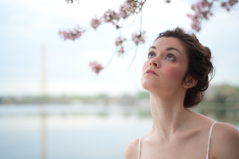 Jessica Cain in the cherry blossoms, Jefferson Memorial, Washington, DC.