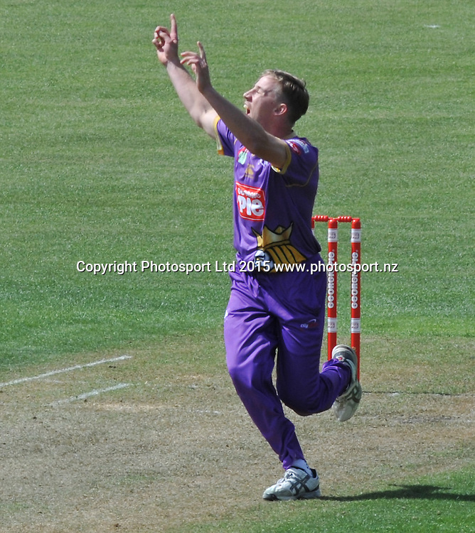 Canterbury Kings Logan van Beek appeals for a LBW in the Georgie Pie Super Smash Twenty20 cricket match between the Otago Volts v Canterbury Kings held at the University Oval, Dunedin. 29 November 2015.