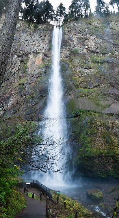 Multnomah Falls upper tier plunges 542 feet in Columbia River Gorge National Scenic Area, on Historic Columbia River Highway and Interstate 84, Oregon, USA. Panorama stitched from 2 images.