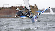 ENGLAND, London, Queen Mary Sailing Club, January 9th 2010, Bloody Mary Pursuit Race, International Moth 3366, Alex Adam, (Castle Cove SC). Boat preparation Pt 2