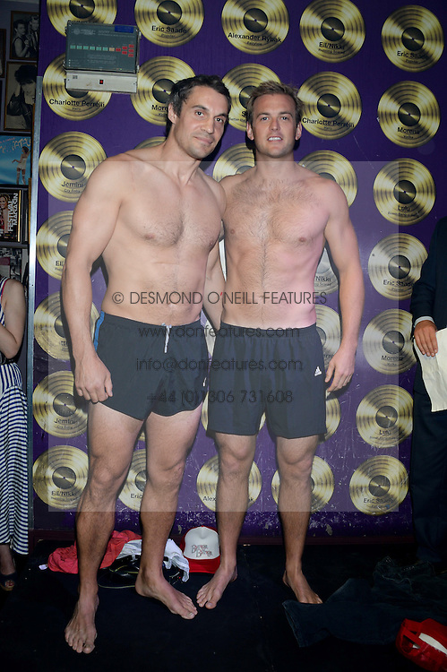 Left to right, ADAM BIDWELL and FREDDIE ANDREWS at the Weigh In Party for the upcoming Boodles Boxing Ball held at Bunga Bunga, Battersea Bridge Road, London on 5th September 2013.
