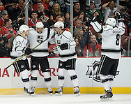 The Kings' celebrate Marian Gaborik's first period goal against the Blackhawks' during Game 5 of the Western Conference Final of the 2014 NHL Stanley Cup Playoffs at United Center Wednesday in Chicago.