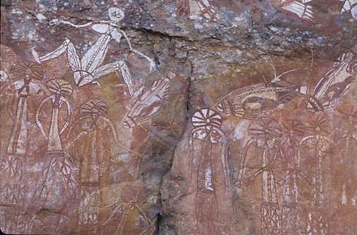 Kakadu National Park, X-ray Aboriginal rock art. Anbangbang Gallery. Australia.